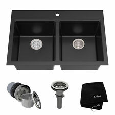 "Kraus Granite 33"" L x 22"" W Double Basin Dual Mount Kitchen Sink"