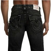 True Religion Men's Straight Fit Checkered Patch Stretch Jeans w/ Rips in Black