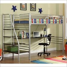 Twin Study Loft With Stairs Silver 4504-S New