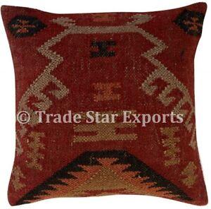 Vintage Kilim Jute Cushion Cover 2 Pcs Hand Woven Rug Pillow Case Rustic Cushion