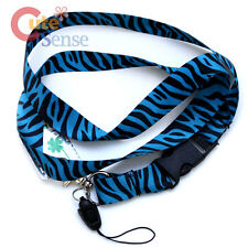 Zebra Lanyard Black Turquoise Blue Teal Animal  Key Chain  ID Holder Lanyard