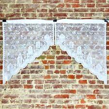 """Curtain Vtg Lace Vintage Nesting Box Birdhouse 28"""" W x 36""""/14'' L Cottage Set 2"""