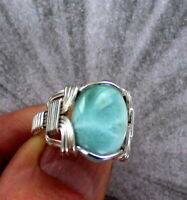 Larimar Gemstone Ring in Sterling Silver   Size 5 to 15   Wire Wrapped