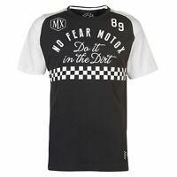 No Fear Mens Custom Motox Detail T Shirt Crew Neck Tee Top Short Sleeve Round