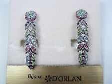 with Pastel Swarovski Crystals 0645 D'Orlan Rhodium Plated Clip-on Earrings
