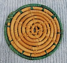 "Green Tan 6"" Braided Spiral Grass Grass Cord Old Woven Trivet Hot Pad FREE S/H"