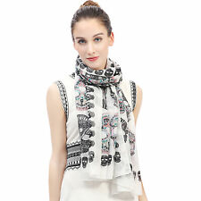 SCARF SHAWL WRAP WITH SUGAR CANDY SKULLS DESIGN FOR LADIES WOMEN