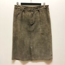 Just Jeans 10 Genuine Suede Leather Knee Length A-Line Skirt Taupe Brown