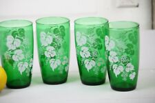 Vintage Glassware 4 Glasses Green White Frosted Grape Bunches Beverage Tumblers