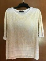 Women's Zara WB Collection 3/4 Sleeve Shirt Top Medium M White Tan Geometric