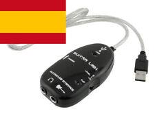 Cable Adaptador USB para Conectar Guitarra a Ordenador PC Mac Guitar Link