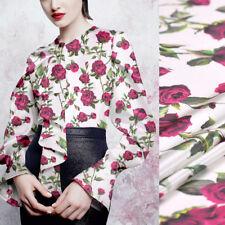 Rosen Rot Blumen Blätter Drucken Weiß Stretch Seide Satin Stoff Breite 108 cm