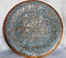 Middle Eastern Egypt Silver Inlaid Copper Plate With Egyptian Ancient patterns