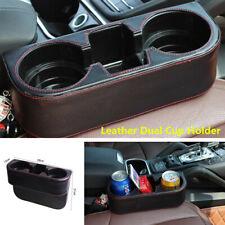 Car Seat Dual Cup Drink Bottle Holder Pocket Storage Organizer Black Leather