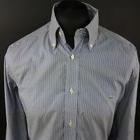 Lacoste Mens Shirt 40 (MEDIUM) Long Sleeve Blue Regular Fit Striped Cotton