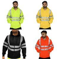 Hi Vis 2 Tone Sweatshirt Outwear Hooded Reflective Hoodie Jacket Top Hoody Work
