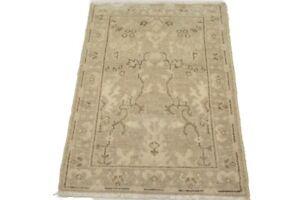 Vintage Style Muted Tan Floral Chobi Oushak 2X3 Oriental Rug Kitchen Wool Carpet