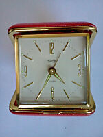 Vintage Bradley Red Clamshell Case Travel Alarm Clock Japan Mint * Works Well *