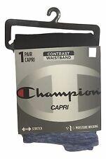 Champion Womens Size Large Black Cationic Blue Waistband Wicking Capri Leggings