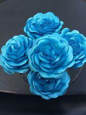 6 Bridal Wedding  Blue  Rose Flower Hair Pins Clips Grips handmade