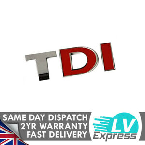 Chrome & Red Badge Tailgate Upgrade 80x25mm Compatible with TDI Models