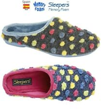 Ladies Mule Slippers Sleepers AMY Knitted Spotted Size 3,4,5,6,7,8,9 UK