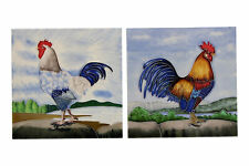 More details for 2 x tube lined ceramic rooster / chicken tiles freestanding
