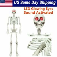 Halloween Posable Life Size Prop Skull Skeleton Sound Activated LED Glowing Eyes