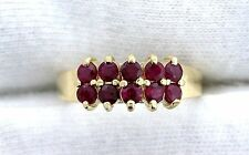 14Kt  REAL Yellow Gold  Round Red Ruby Gem Stone Gemstone Cluster Ring Size 6.5