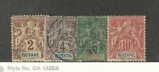 French Guiana, Postage Stamp, #33-35, 38 Used, 1892-1900