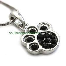 Black Doggy Dog Puppy Paw Pendant Necklace Charm Jewelry Gift Girls Women Mom