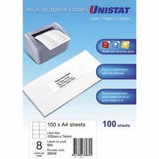 Unistat Printable Labels 100 Sheets 8 Per Page