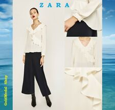 ZARA Flowing V-Neck Blouse Long Sleeve New Ecru Frilled Chiffon Top Size: L