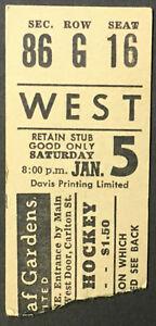 1963 Maple Leaf Gardens Hockey Ticket Stub Toronto Maple Leafs Boston Bruins