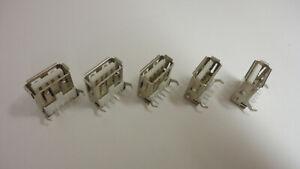 5 Pcs Pack Lot Standard USB 2.0 Jack Socket Type A 90 Degrees Port Female 4 Pins