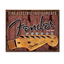 Fine Electric Instruments Fender Guitar Distressed Retro Vintage Metal Tin Sign