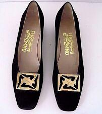 Salvatore Ferragamo Black Suede Pumps Shoes Stunning Gold Tone Buckle Sz. 8 4A