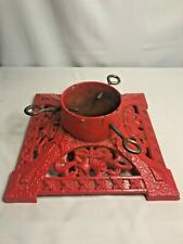 Antique Red Cast Iron Christmas Tree Stand ~ Bells & Holly~Ornate~Vintage~Rare