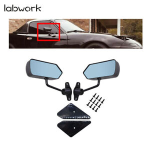 Car Racing Rearview Side Wing Mirrors Convex Glass X 2  Black Universal F1 Style