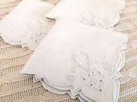 3 Cutwork Napkins Vintage Natural Color Linen- Flower and Scroll Pattern