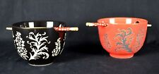Japanese Style Rice Bowl with Chopsticks, Set of Two (Floral Pattern)