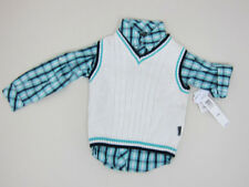 DKNY Shirt Vest and Jeans Outfit - Boys 24 Months - White Blue Grey - NWT
