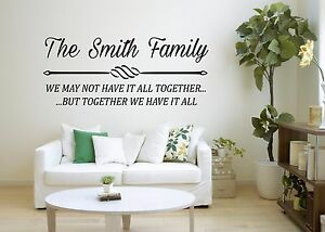 PERSONALISED FAMILY NAME QUOTE WALL ART VINYL QUOTE STICKER