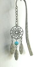 NATIVE AMERICAN DREAMCATCHER BOOKMARK PEWTER CHARM PENDANT TURQUOISE GEMSTONE
