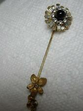 RARE~Vintage Miriam Haskell Rhinestone Baguette Stick Pin Brooch