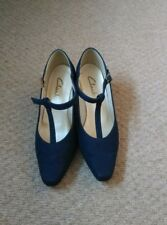 Ladies Navy Blue Clarks T Bar Mary Jane Shoes Size 4 37