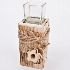 Steele Holz mit Teelichtglas und Blüten 18,5 cm Deko neu Kerzenhalter