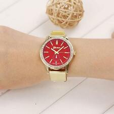 Ladies Fashion Geneva Red Dial  Stainless Steel Gold Mesh Band Wrist Watch