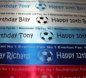 No 1 Football Fan Cake or Gift Wrap Ribbon Any team available your name/message