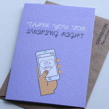 Thank you for swiping right | Funny Birthday Card | Greeting Card